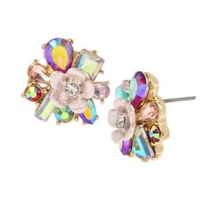 Betsey Johnson Opulent Floral Cluster Earrings